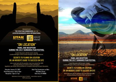 Location Managers Guild Sundance ad and flyer. Graphics are original artwork.